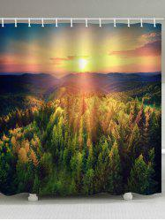 Sunset Forest Print Waterproof Shower Curtain -