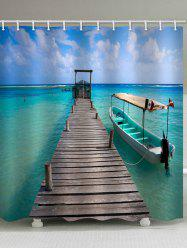 Beach Wharf Print Waterproof Shower Curtain -