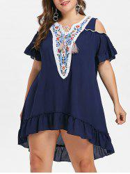 Plus Size Embroidered Tassel Drawstring Dress -