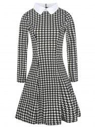 Flat Neck Houndstooth Print Fit and Flare Dress -