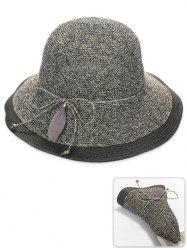 Foldable Feather Bowknot Decorative Sun Hat -