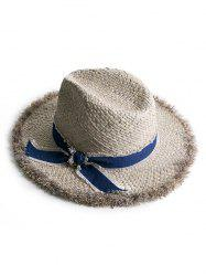 Vintage Bowknot Fuzzy Cowboy Straw Hat -