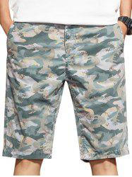 Zip Fly Camo Casual Shorts -