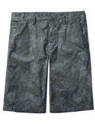 Zip Fly Allover Leaves Print Shorts -