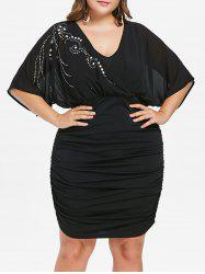 Plus Size Batwing Sleeve Ruched Dress -
