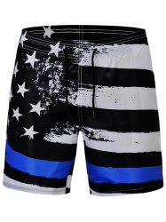 Stars and Stripes Print Quick Dry Swim Shorts -