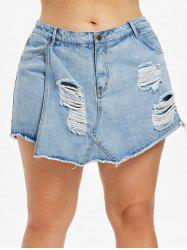 Plus Size Ripped Overlap Denim Shorts -