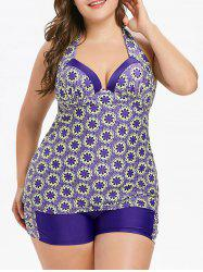 Плюс Размер Halter Flower Tankini Set -