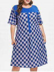 Plus Size Buttoned Plaid Casual Dress -