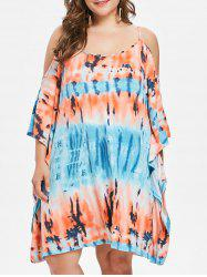 Rosegal Plus Size Tie Dye Open Shoulder Dress -