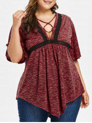 Plus Size Lace Up Plunging Neck T-shirt -