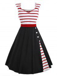 Striped Insert Sweetheart Neck Vintage Dress -