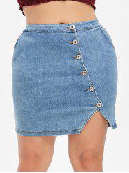Plus Size Fitted Denim Skirt -