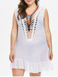 Plus Size Crochet Panel Tank Cover Up -