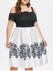 Lace Print Plus Size Cold Shoulder Dress -