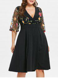 Plus Size Flare Sleeve Embroidery Flare Dress -