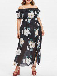 Plus Size Off The Shoulder Ruffle Floral Dress -