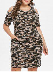 Plus Size Camo Print Cold Shoulder Dress -