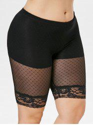 Plus Size Sheer Gridding Thigh Shorts -