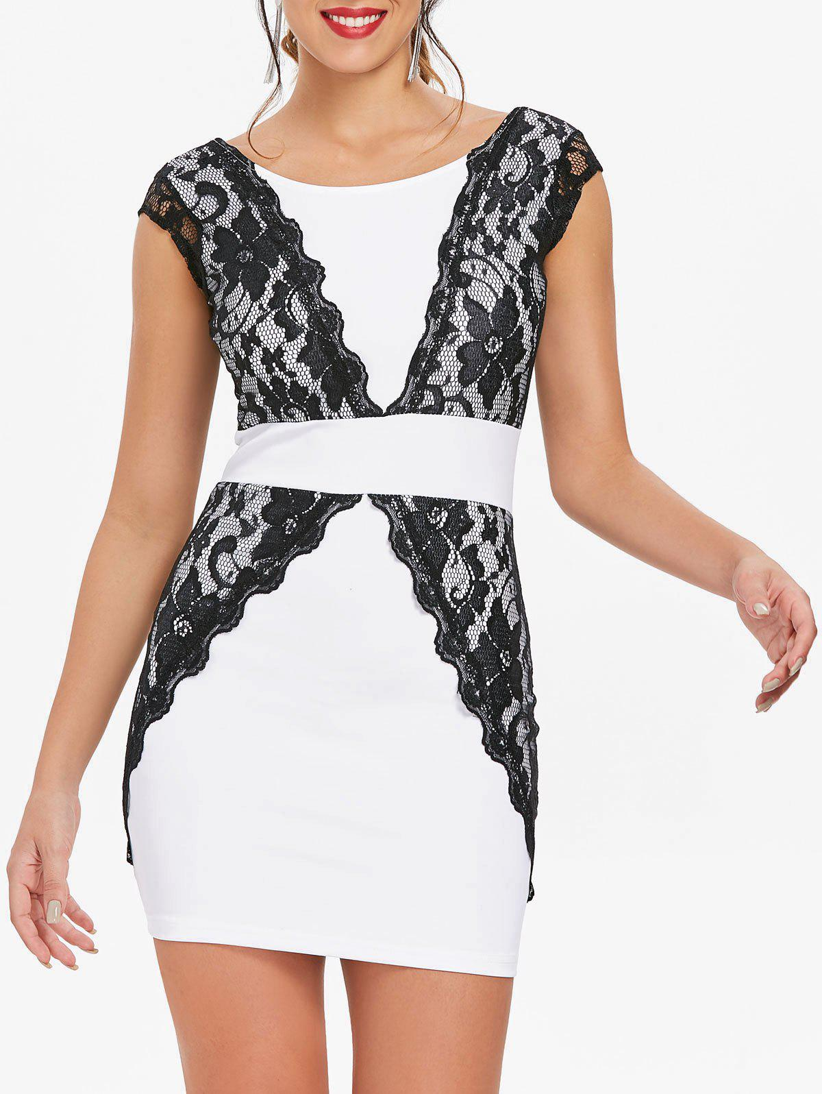 Fancy Contrast Lace Bodycon Mini Homecoming Dress