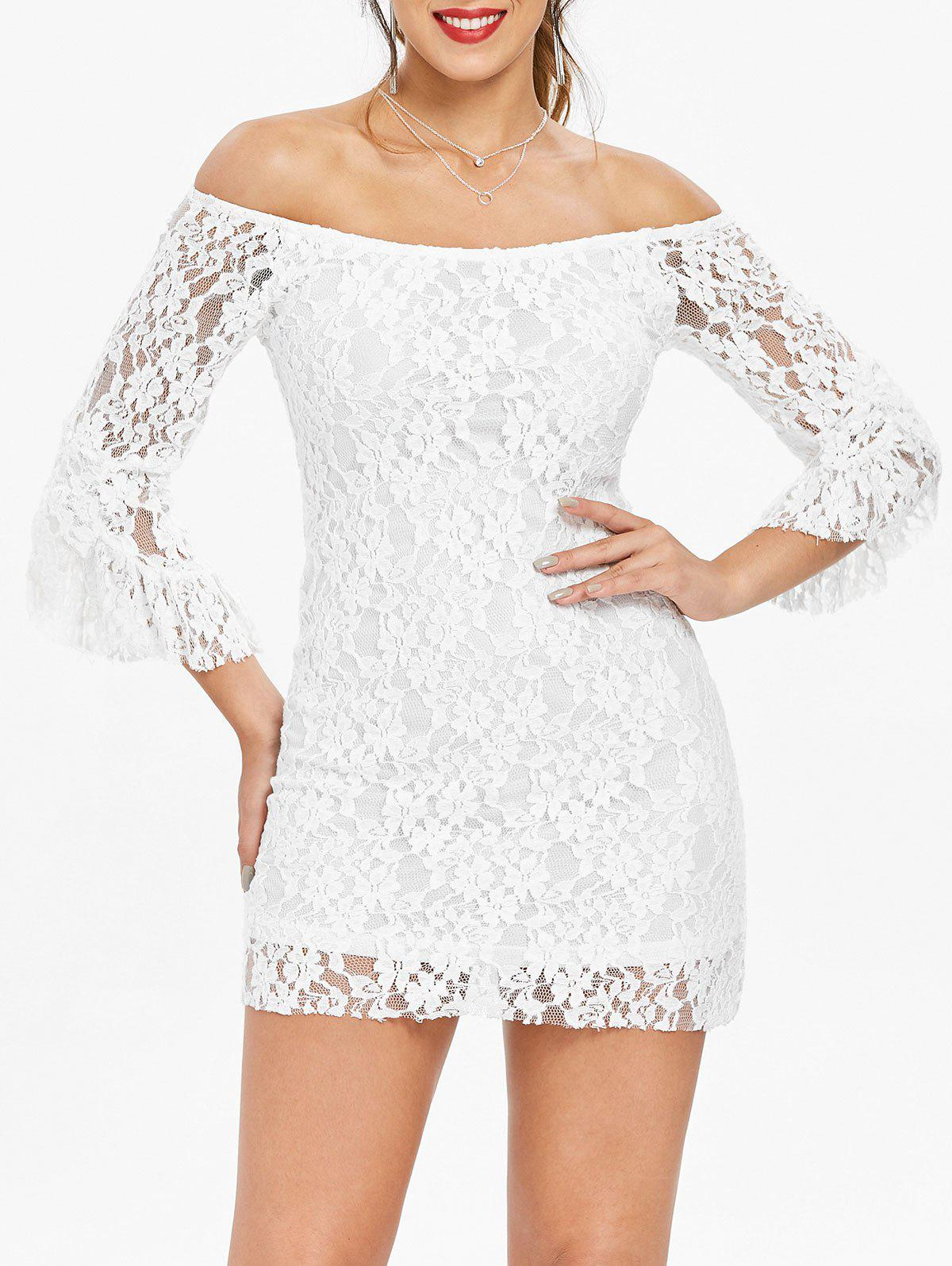 Store Mini Off Shoulder Lace Tight Club Dress