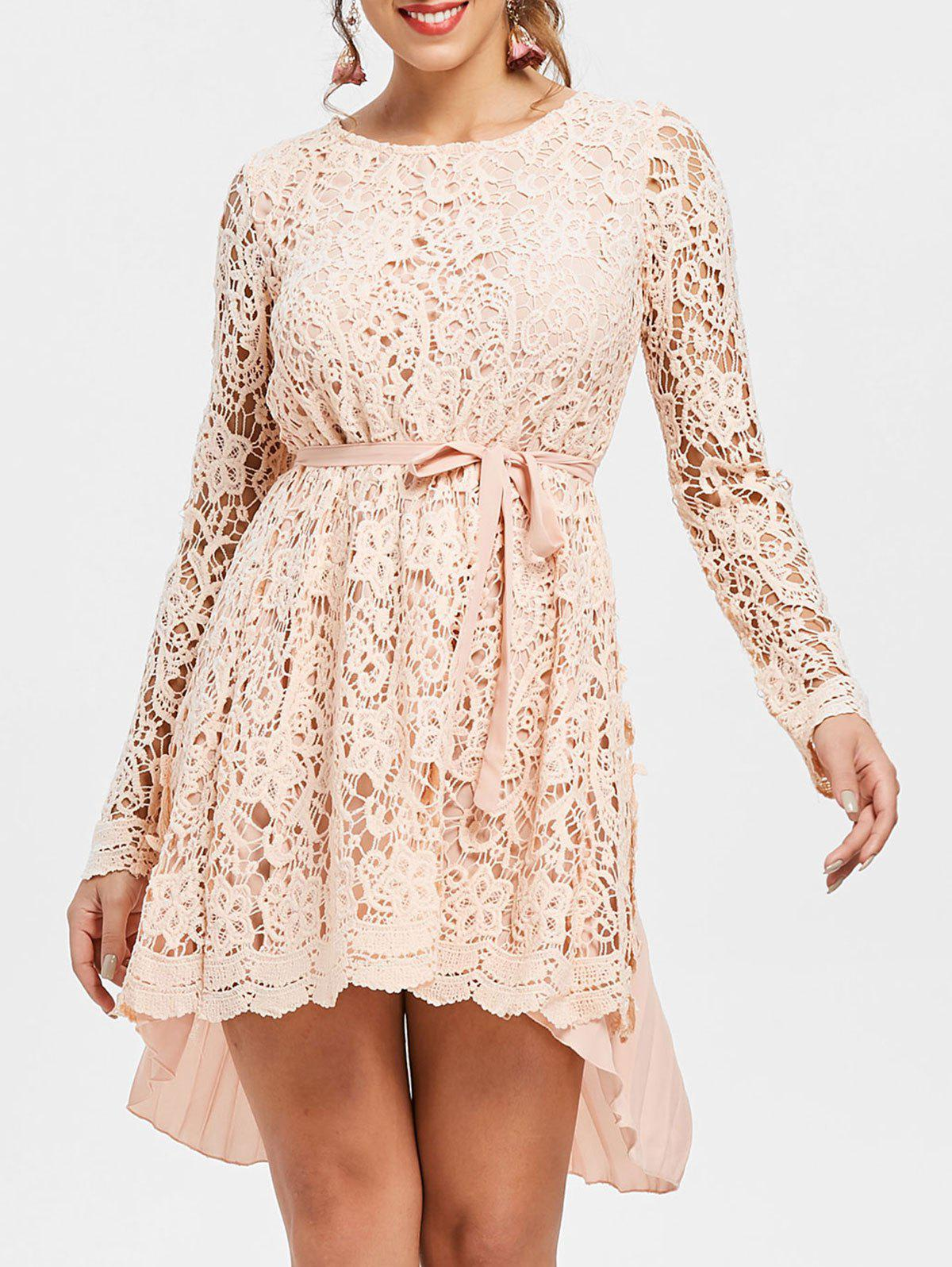Latest Long Sleeve High Low Lace Mini Pleated Dress