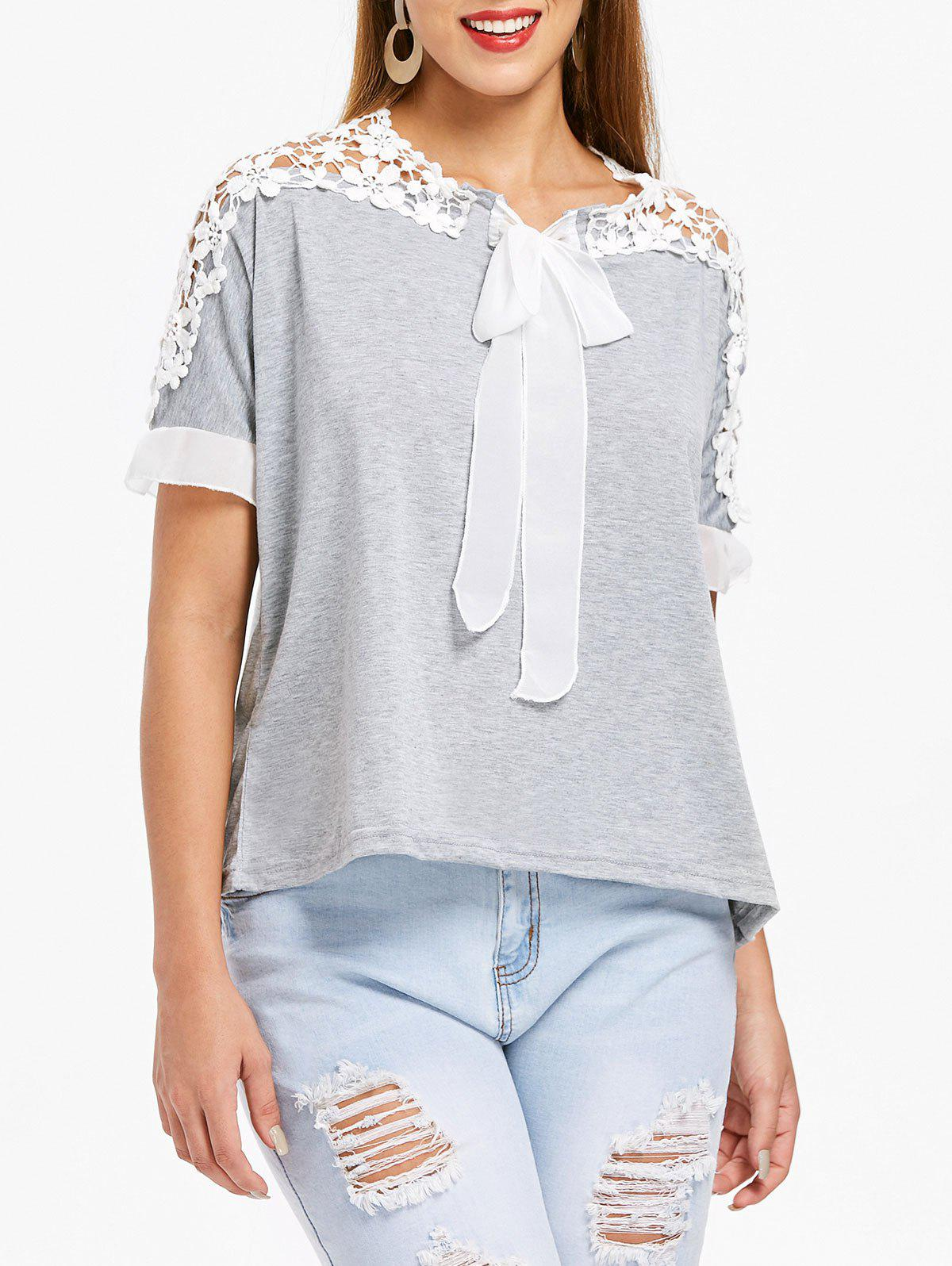 Shop Stylish Jewel Neck Guipure Flared Sleeve Bow Embellished T-Shirt For Women