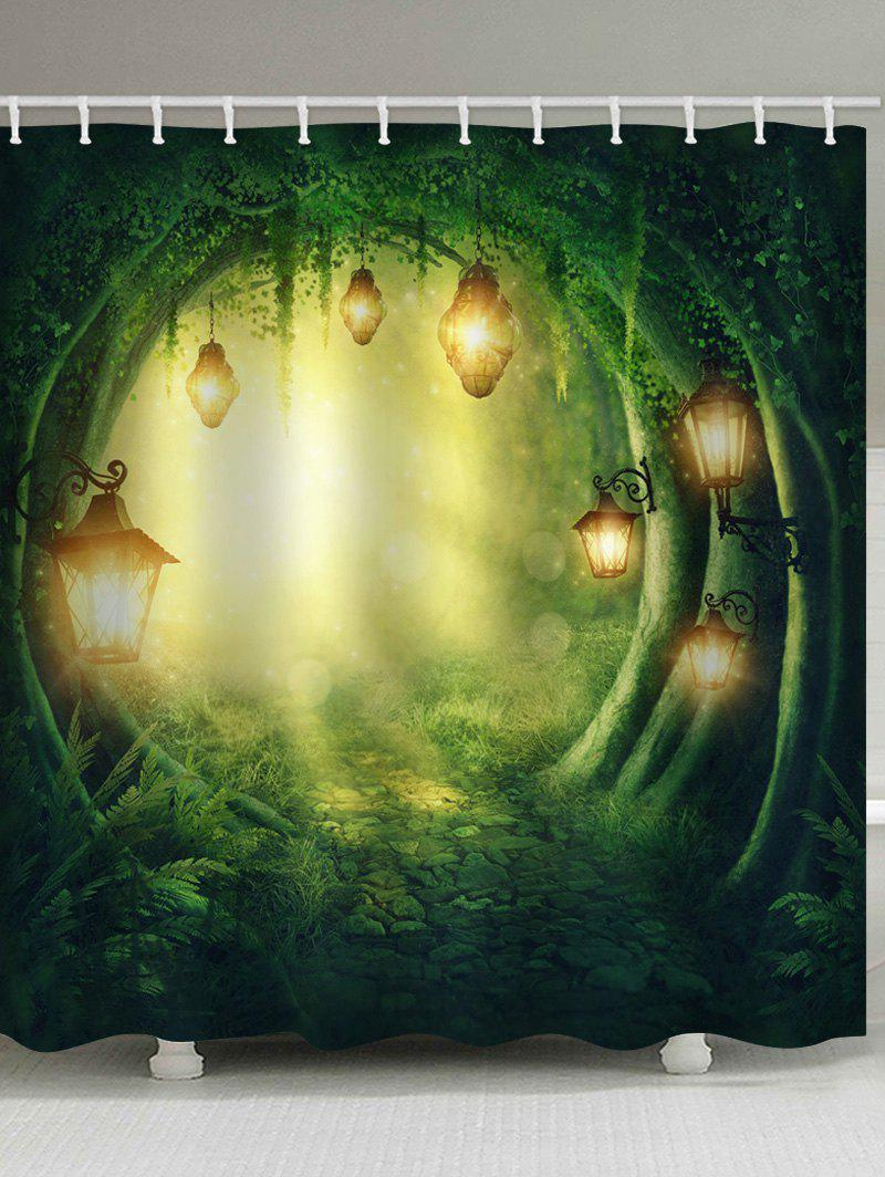 Latest Forest Cave Lamp Print Waterproof Bathroom Shower Curtain