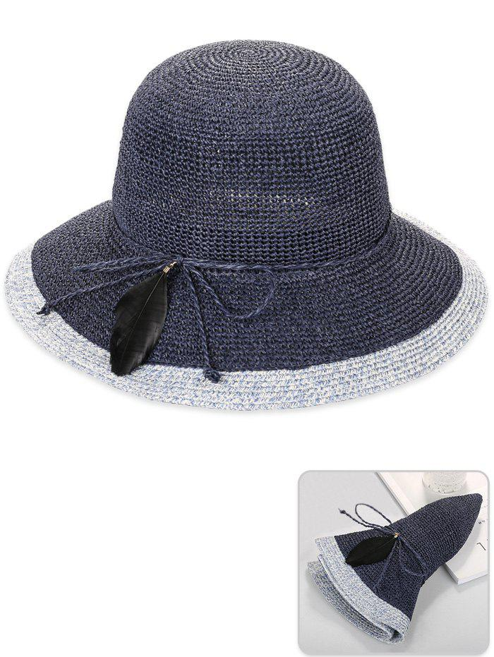 Affordable Foldable Feather Bowknot Decorative Sun Hat