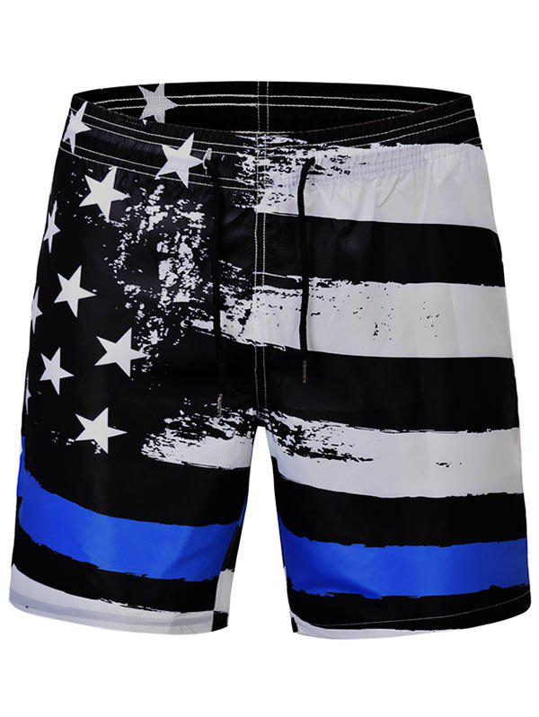 Sale Stars and Stripes Print Quick Dry Swim Shorts