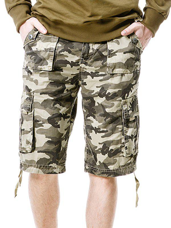 Fancy Zip Fly Flap Pockets Camouflage Cargo Shorts