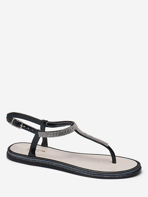 Trendy Crystals Embellished Casual Beach Buckle Strap Thong Sandals