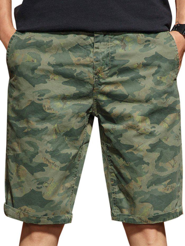 Hot Zip Fly Camo Casual Shorts