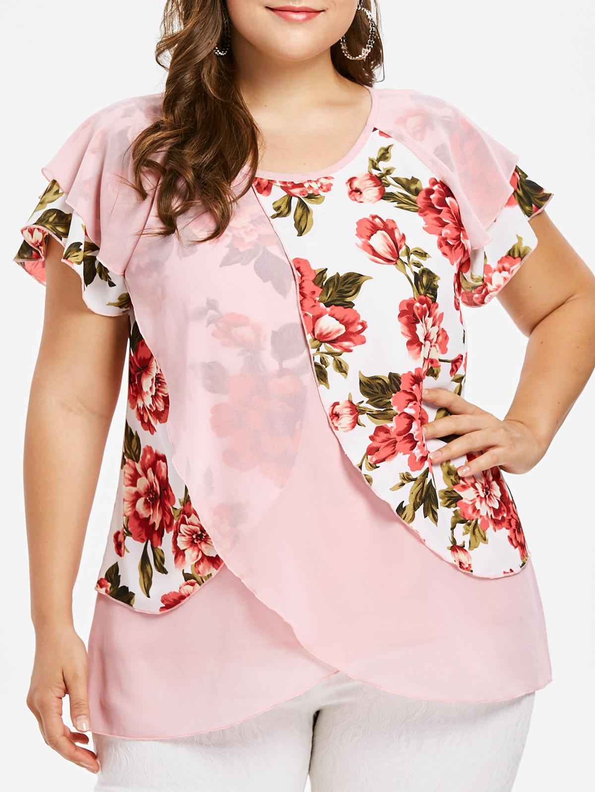 Cheap Plus Size Tulip Flower Blouse