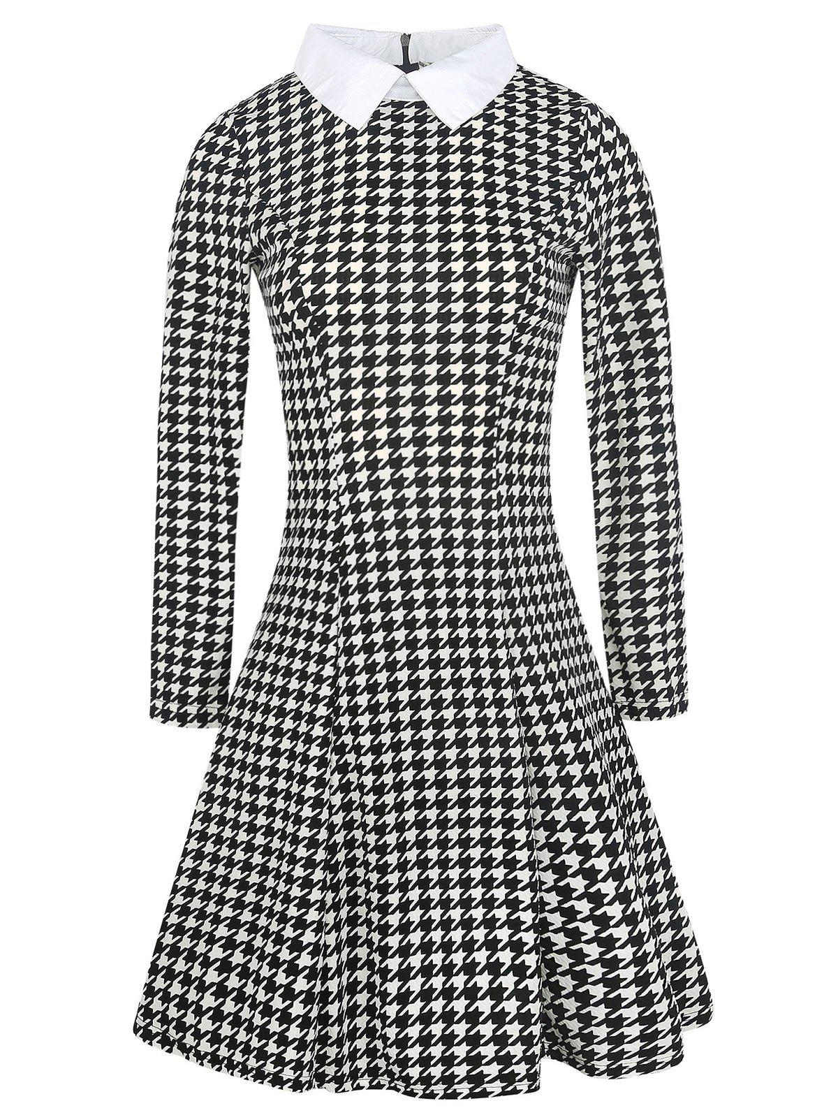 Store Flat Neck Houndstooth Print Fit and Flare Dress