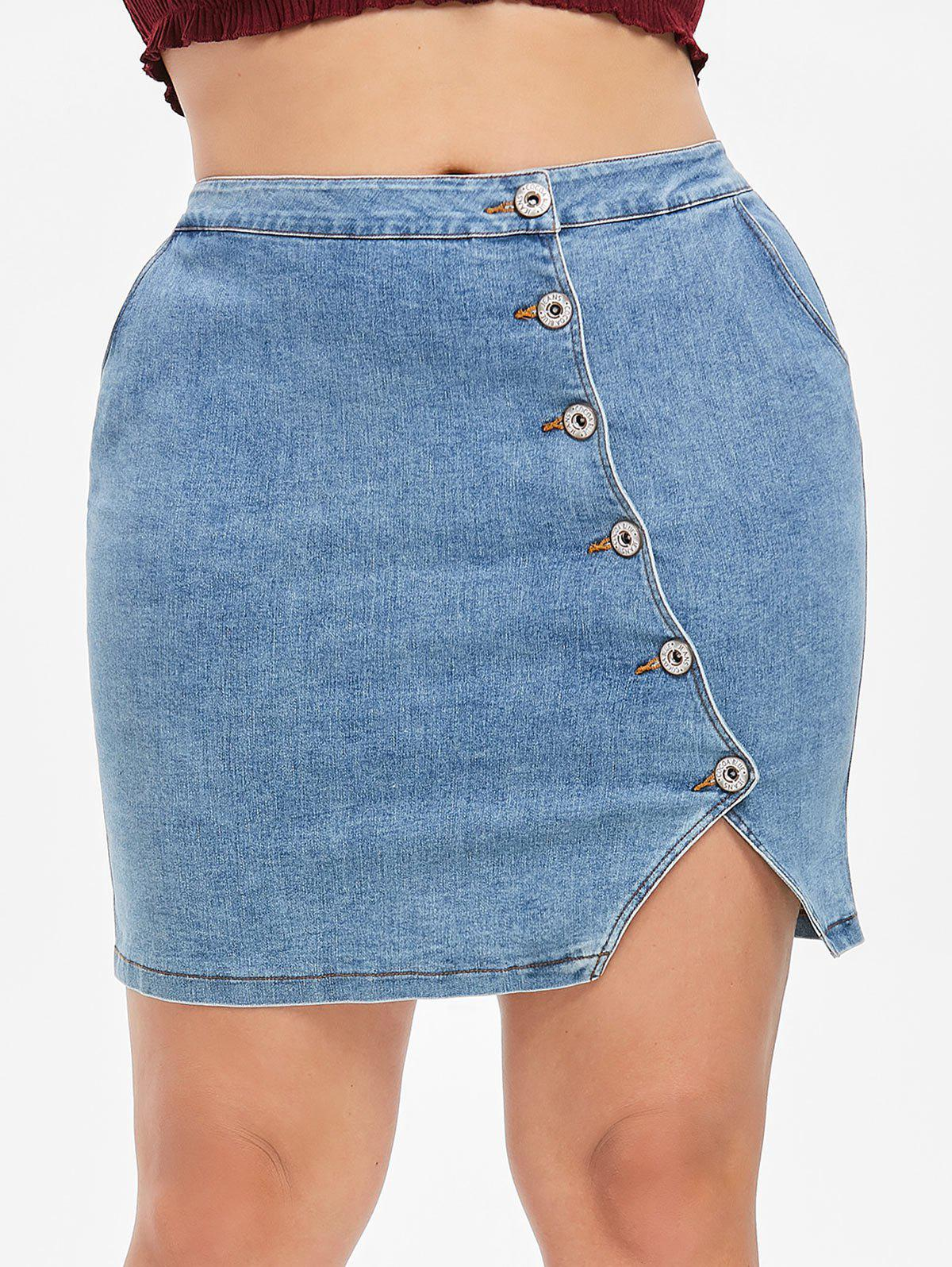 Cheap Plus Size Fitted Denim Skirt