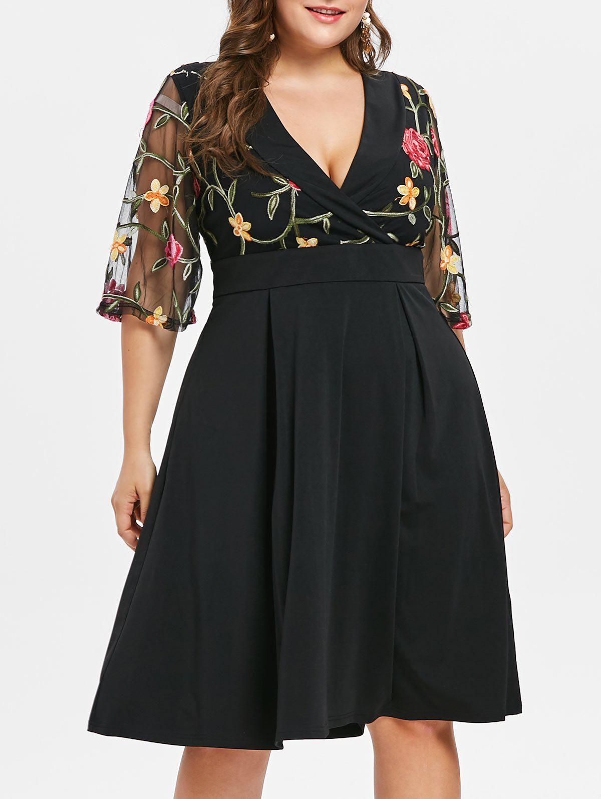 Unique Plus Size Flare Sleeve Embroidery Flare Dress