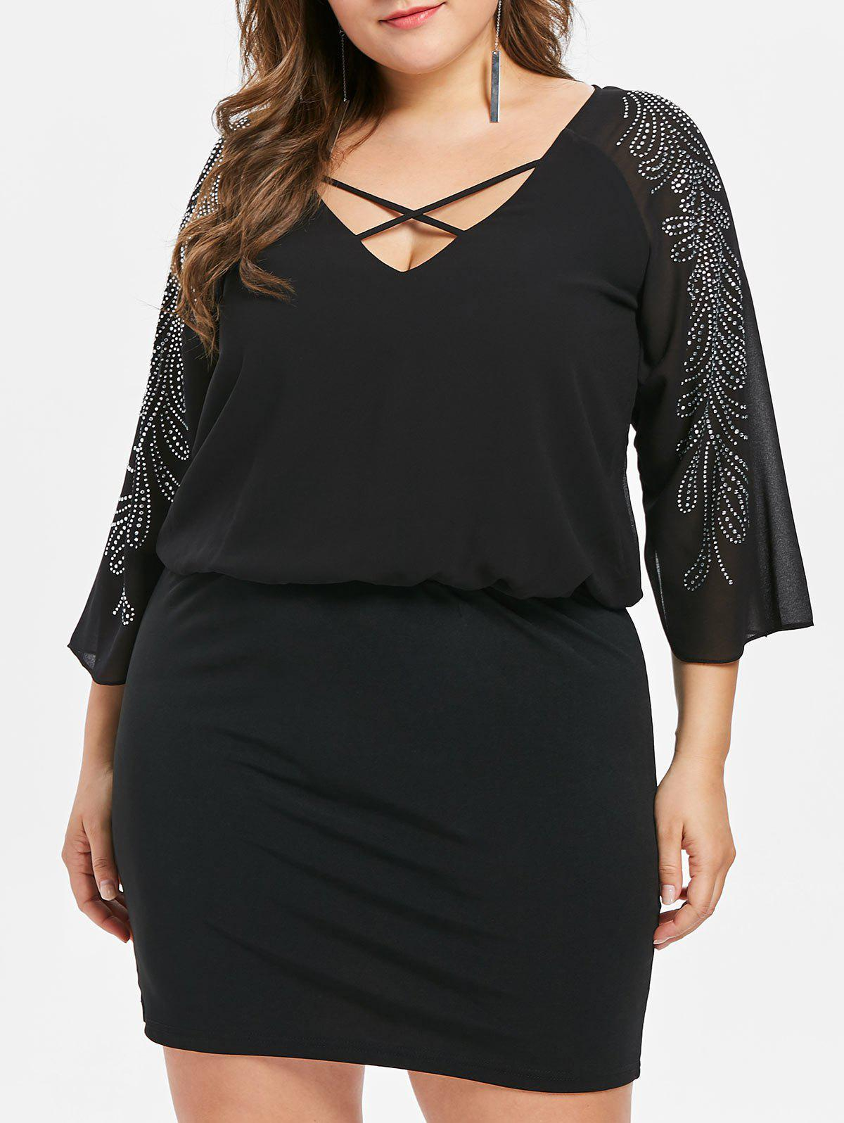 Plus Size Lattice V Neck Mini Blouson Dress