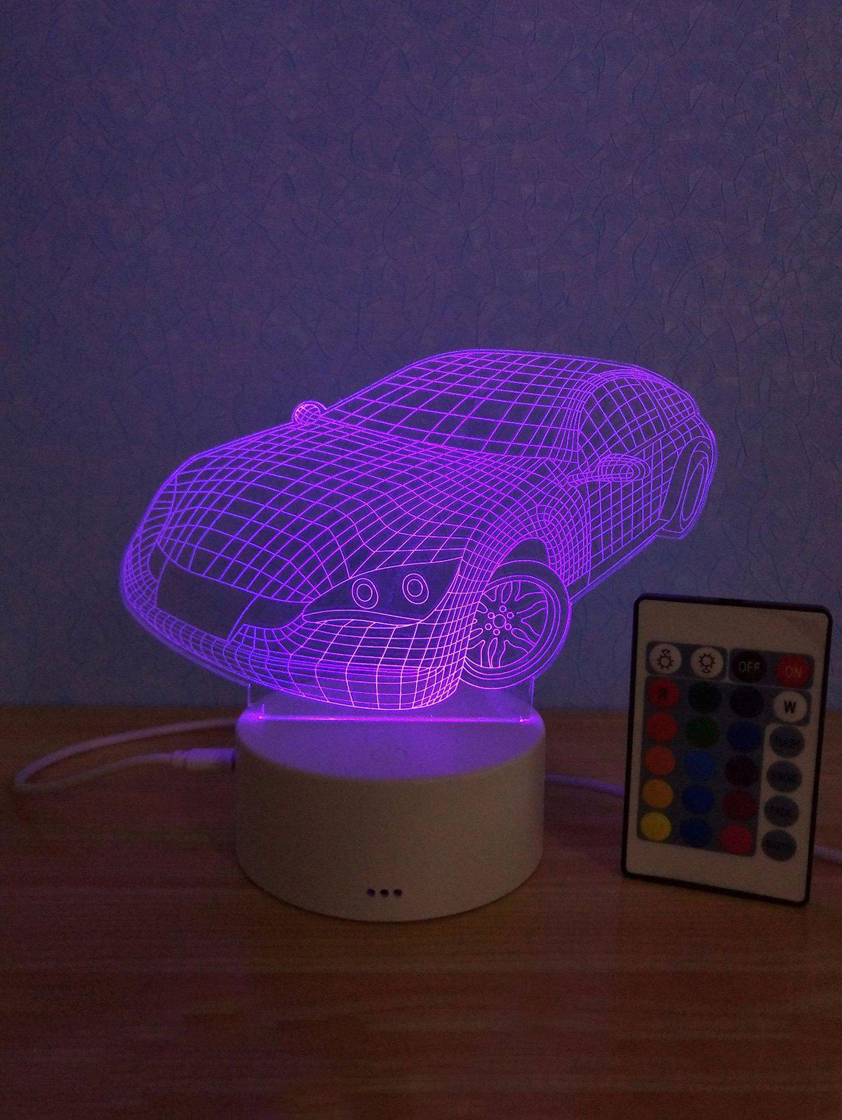 Shop 3D Car Shaped 3 Color Change Mini Table Lamp