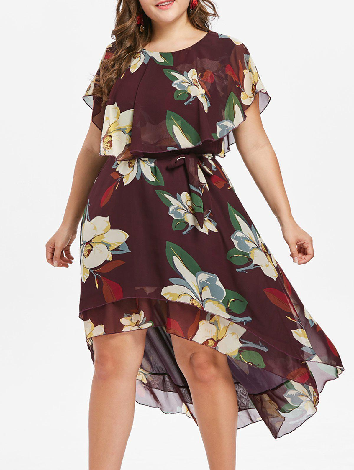 Online Plus Size Floral High Low Dress