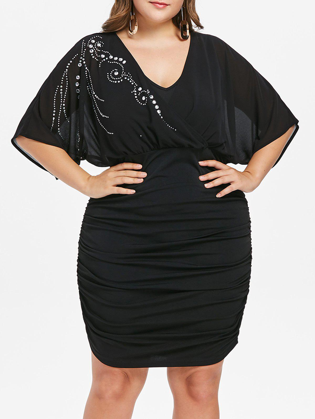 Online Plus Size Batwing Sleeve Ruched Dress