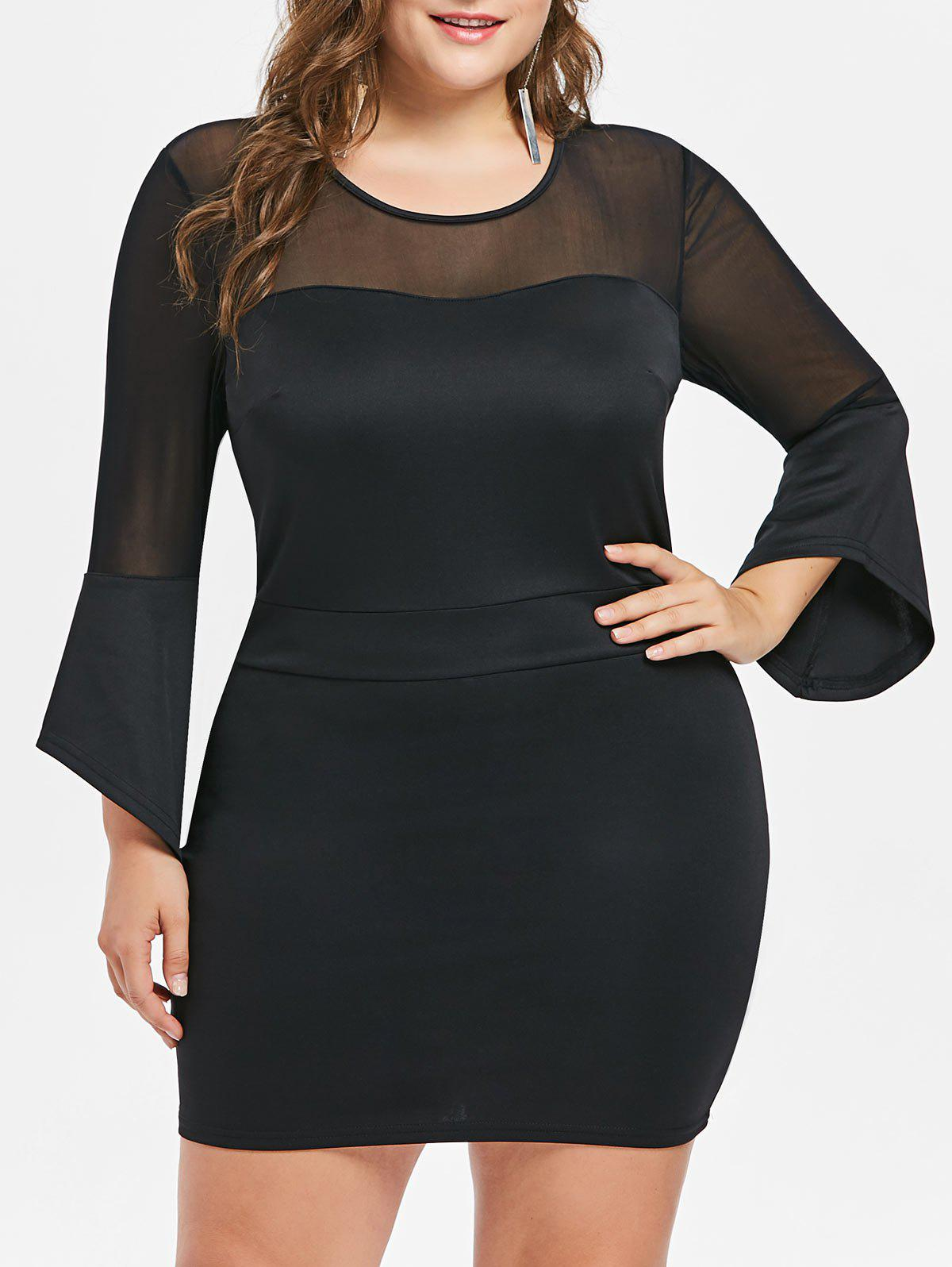 Shop Plus Size Mesh Insert Bell Sleeve Dress