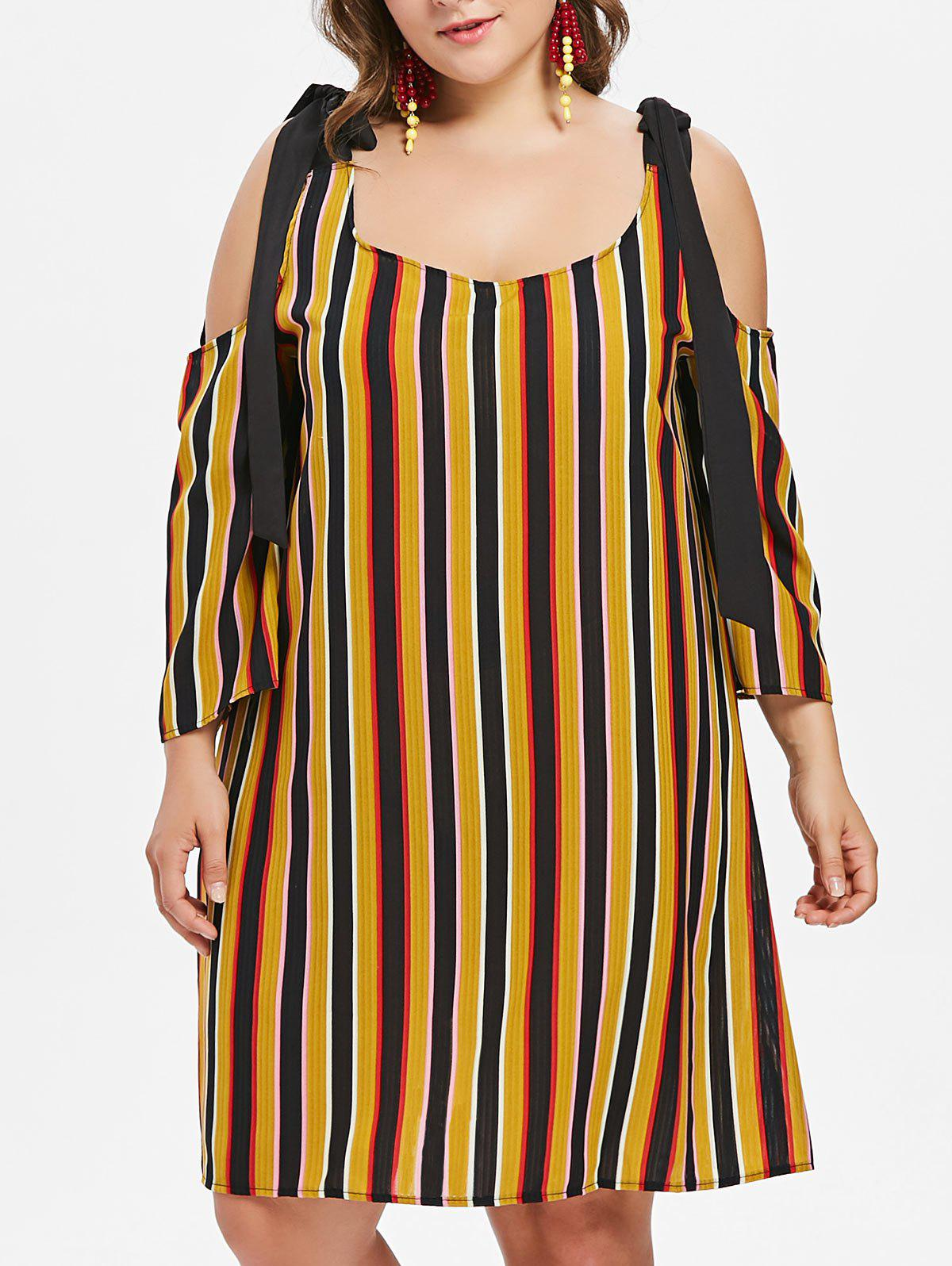 Hot Plus Size Striped Tie Shoulder Dress