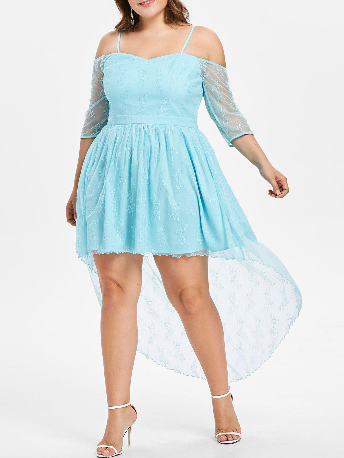 32% OFF] Plus Size Cold Shoulder Lace High Low Dress | Rosegal
