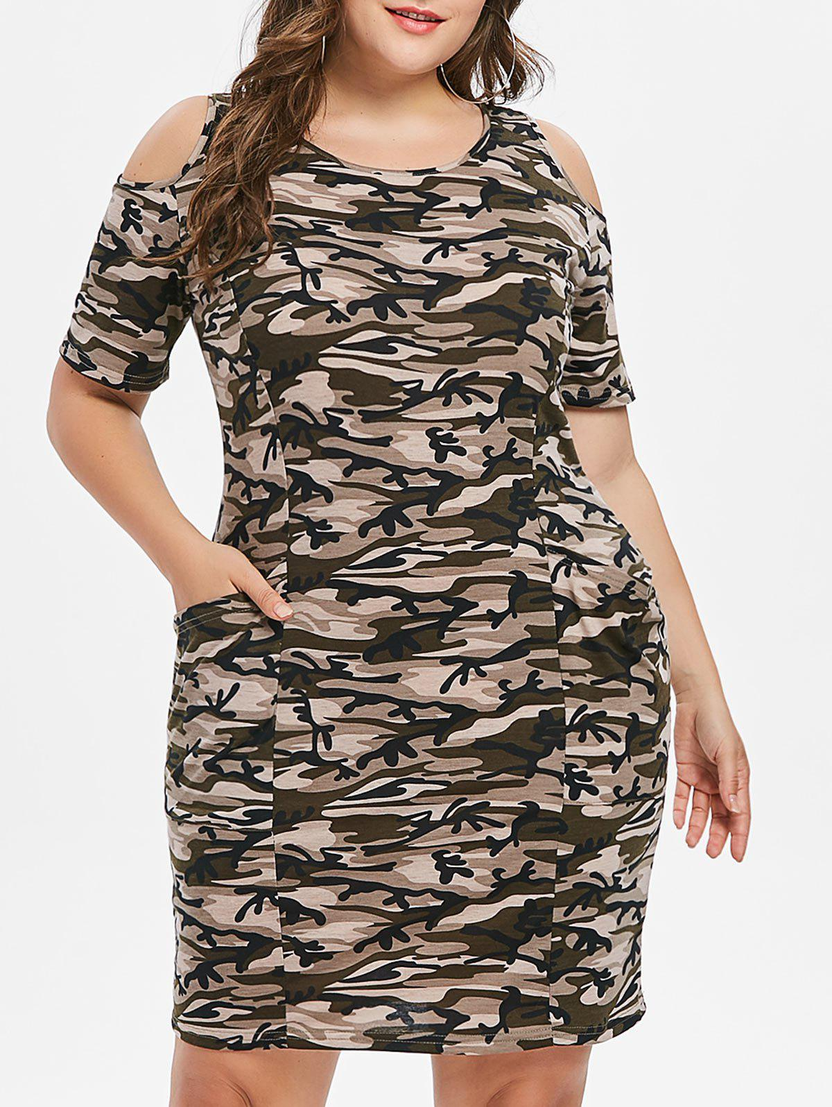 Affordable Plus Size Camo Print Cold Shoulder Dress