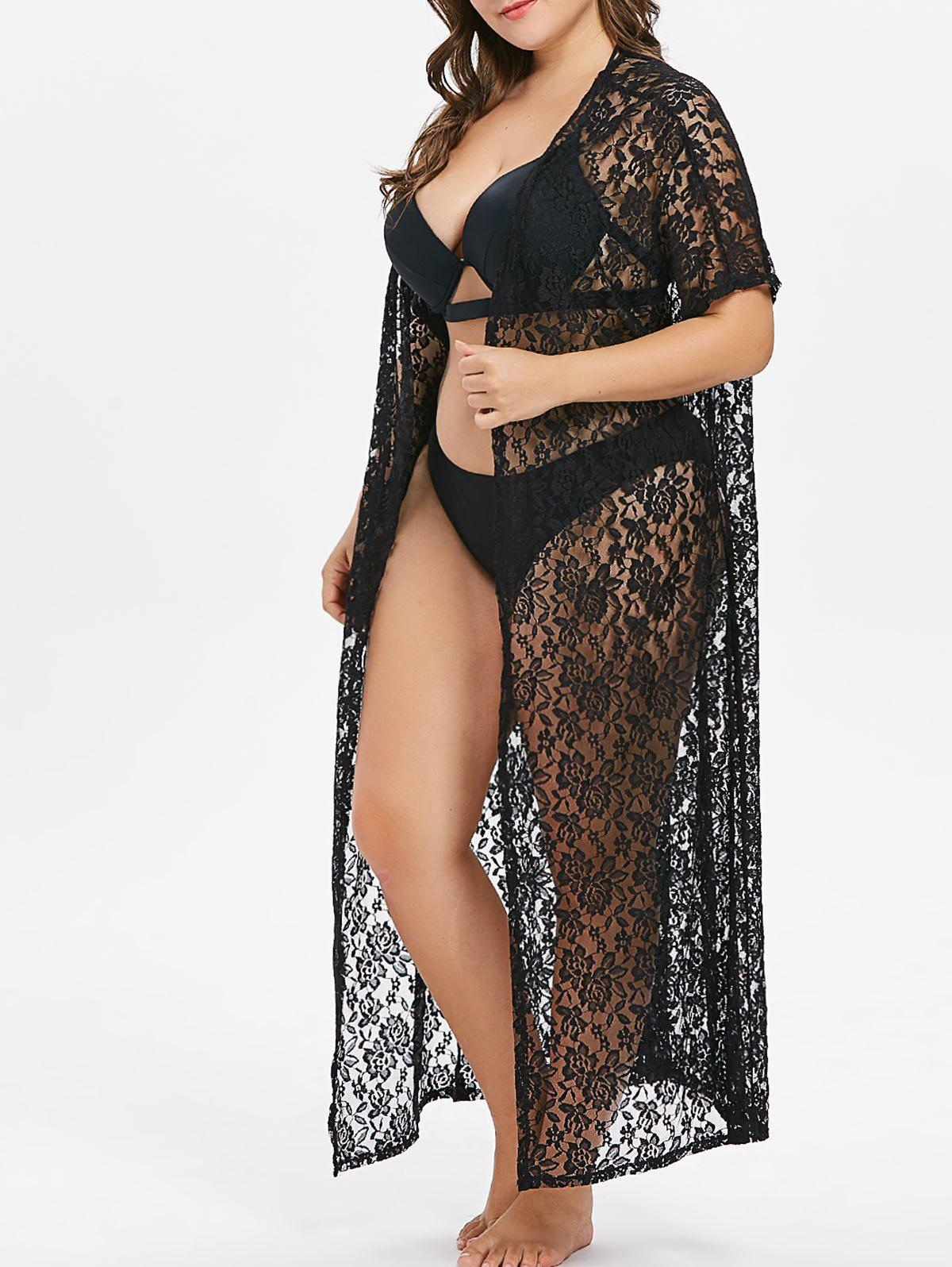 Affordable Plus Size Lace Maxi Cover Up