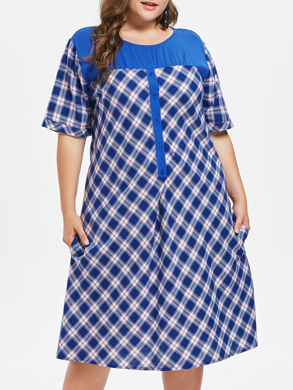 Online Plus Size Buttoned Plaid Casual Dress