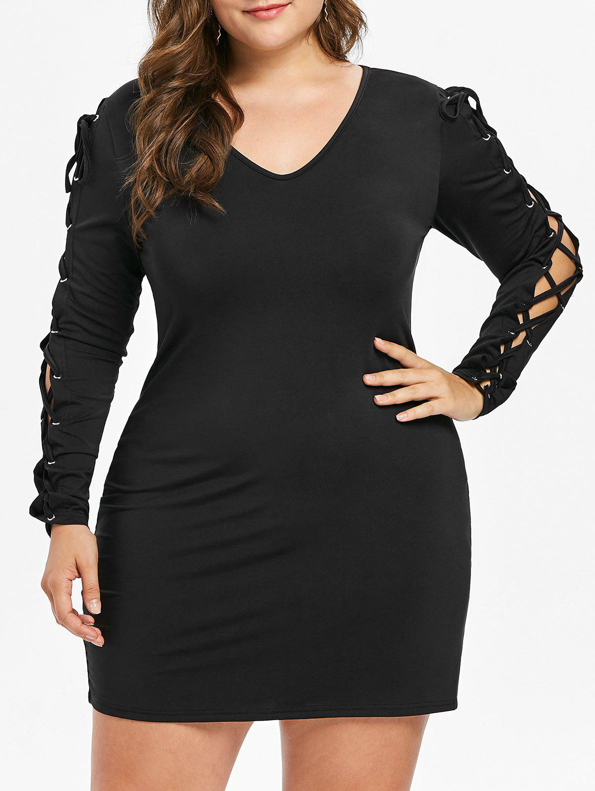 Affordable Lace Up Sleeve Plus Size Bodycon Dress