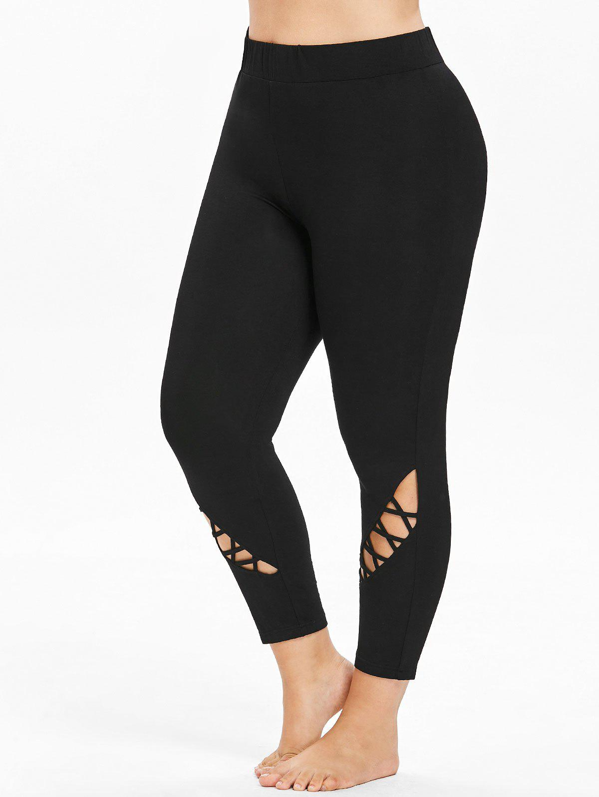 Chic Plus Size Criss Cross Ankle Leggings