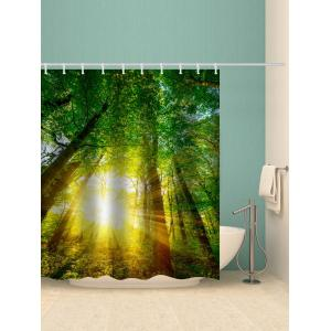 Forest Sunshine Printed Waterproof Bath Curtain -